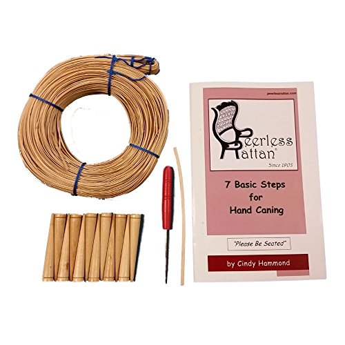 (Complete Chair Caning Kit, Includes 270' of Cane, Awl, 12 Pegs, Full Color Instructions by Cindy Hammond, Pegging Material and 4mm Binder Strip (Narrow-Medium 2.75mm))