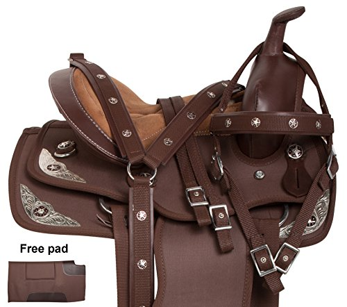AceRugs Premium Light Weight Synthetic Brown Youth Kids Silver Western Horse Saddle TACK Bridle REINS Breastplate PAD 10 12 13 (12)