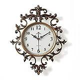 JYY Reloj De Pared Europeo Vintage Silencioso Sin Tic-TAC,Reloj Decorativo para Sala De Estar Dormitorio Cocina,38x49cm,2 Colores (Color : Brown)