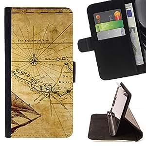Momo Phone Case / Flip Funda de Cuero Case Cover - Mapa antiguo Breta?a Geografía Eart Continente - Sony Xperia Z5 5.2 Inch (Not for Z5 Premium 5.5 Inch)