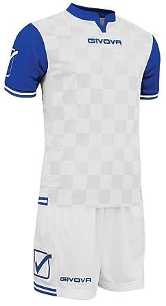 Givova - Kit de competición: Conjunto de camiseta de manga corta y pantalón corto, talla M, color blanco/azul: Amazon.es: Ropa y accesorios