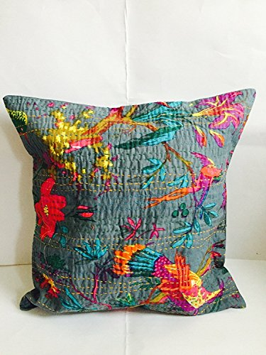Indian Floral Home Décor Birds Handmade Thread Embroidery Cotton Cushion Covers Block Printed Throw Pillow Patchwork Sari Ethnic Kantha Cushion Cover 40x40 16x16 (Grey)