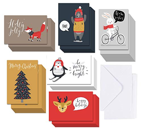 5 X 7 Woodland Animals Christmas Cards Boxed Set In 36 Bulk Pack, 6 Assorted Winter Animal Designs for Holiday Greetings, Envelopes Included