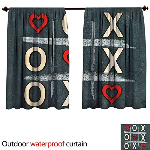 BlountDecor Xo Decorsun Block Outdoor Curtain W120 x L72(305cm x 183cm) Vintage Style Blackboard with Hugs and Kisses Chalk Love Valentines ConceptAnti-waterBlue Grey Red Cream ()