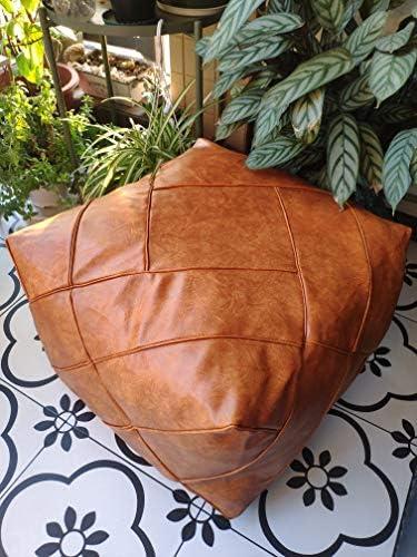 RISEON Boho Handmade Faux PU Leather Moroccan Pouf Footstool Ottoman Leather Poufs Unstuffed 18.9″ x 14.96″