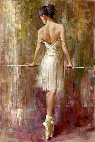 100% Hand Painted female portrait young ballet girl Purity Ballerina Canvas Oil Painting for Home Wall Art by Well Known Artist, Framed, Ready to Hang ()