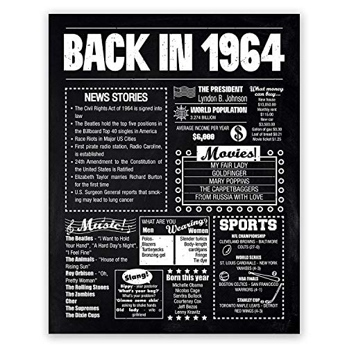 (8x10 1964 Birthday Gift // Back in 1964 Black and White Poster // 55th Birthday Gift // 55th Party Decoration // 55th Birthday Sign // Born in 1964 Print)