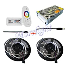 Morelight KIT 33ft 5050 LED RGB Strip 60LEDS/M waterproof adhesive flexible cut & 2.4G MILIGHT RF Touch Wireless Remote Controller & Power Supply 12V 12A 144W & conenctor