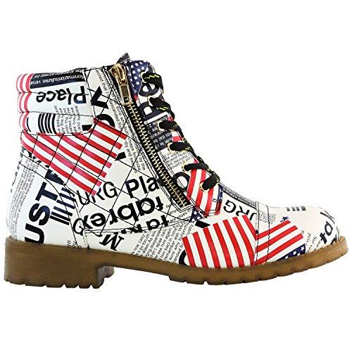 DailyShoes Women's Military Kampfstiefel Quilted Wandern Schnürung Schnalle Knöchelhoch Exklusive Kreditkarten-Tasche Premium Usa Flagge Pu