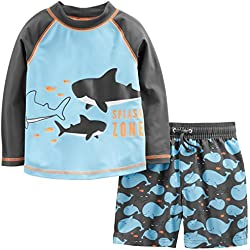 Simple Joys by Carter's Baby Boys' Toddler 2-Piece Swimsuit Trunk and Rashguard, Blue Whales, 4T