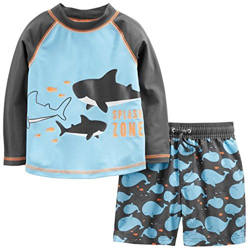 r's Baby Boys' 2-Piece Swimsuit Trunk and Rashguard, Blue Whales, 18 Months ()