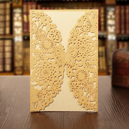 KAZIPA 25PCS Laser Cut Invitations, 4.7''x 7'' Wedding Invitations + Blank Paper + Envelopes for Wedding Bridal Shower Anniversary Birthday Party, Gold+Ivory