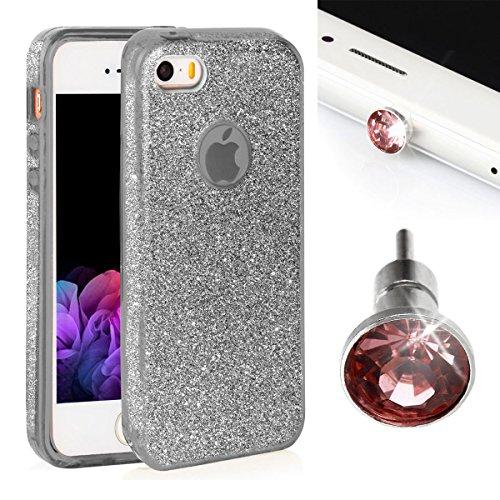 Ego® Cover Glitter Custodia Per iPhone, Huawei Back Case Bumper TPU trasparente lucido bling Custodia/Borsa Cover glamour argento argento Etui für iPhone 5 / 5s / SE