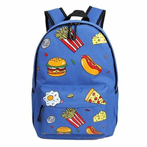 Lavany Girl Retro Harajuku Soft Cute Shoulder Burger Student Backpack Bag (Blue)