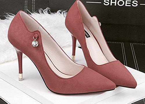 Aisun Women's Cute Rhinestones High Stilettos Slip On Evening Dress Party Pumps Orange XIGPm