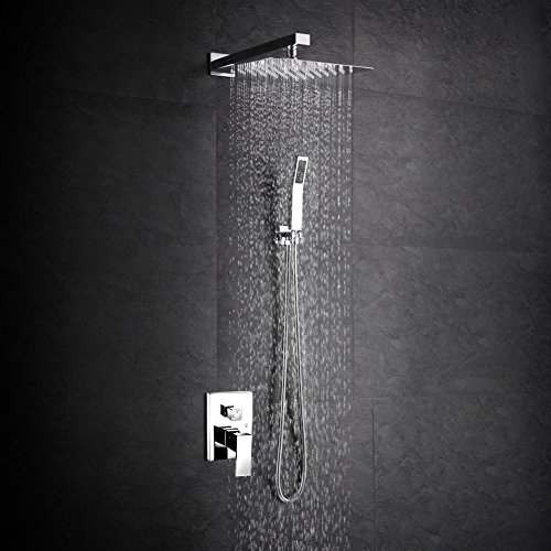 SR SUN RISE SRSH-F5043 Bathroom Luxury Rain Mixer Shower Combo Set Wall Mounted Rainfall Shower Head System Polished Chrome (Rain Shower Head Combo compare prices)