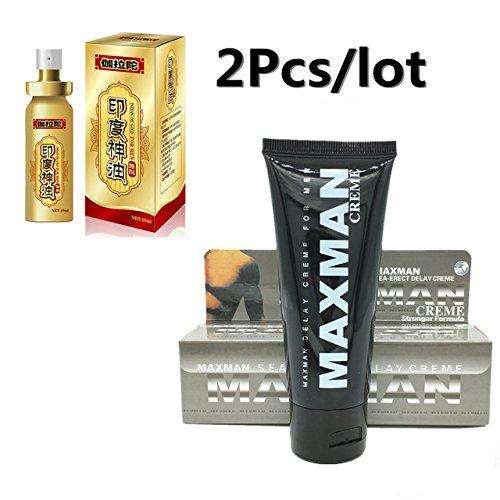 Herbal Penis Enlargement - 2PCS/LOT Penis Enlargement Set MAXMAN Herbal Cream and Peineili Delay Ejaculation Spray