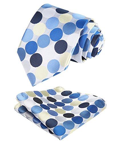 Blue Polka Dot Necktie - BIYINI Mens Tie Polka Dot Necktie and Pocket Square Set for Wedding Party