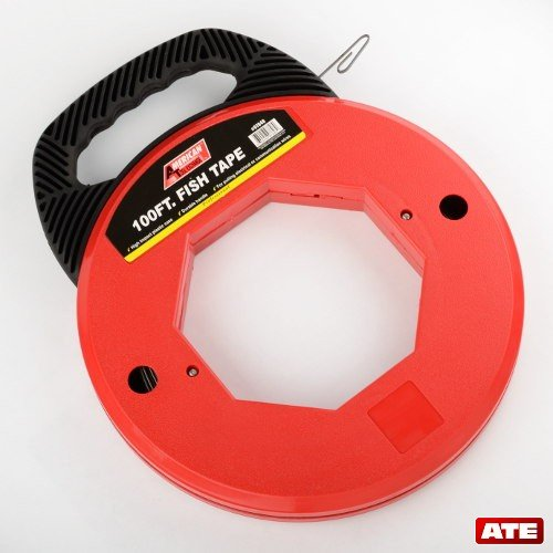Price comparison product image 100 Ft Fish Tape Electrican Reel Pull Wires Cable Steel Hand Puller ATE Tools