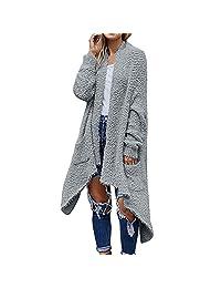 VEZAD Store Women Plush Sweater Cardigan Casual Long Sleeve Irregular Hem Solid Pocket Tops Coat