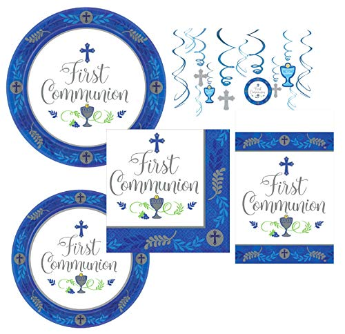 Inspirational Religious Party Supplies and Decorations for First Communion for 18 Guests - Includes Plates, Napkins, Hanging Swirls, and Table Cover -