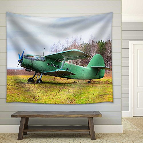 Old Airplane on Field in Autumn Time Fabric Wall