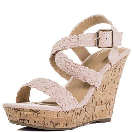 Spylovebuy Sedulous Damen Diamante Keilabsatz Sandalen Schuhe Pumps Nackt - Synthetik Wildleder