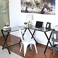 New X-frame Glass and Metal L-shaped Computer Desk with Smoked Glass