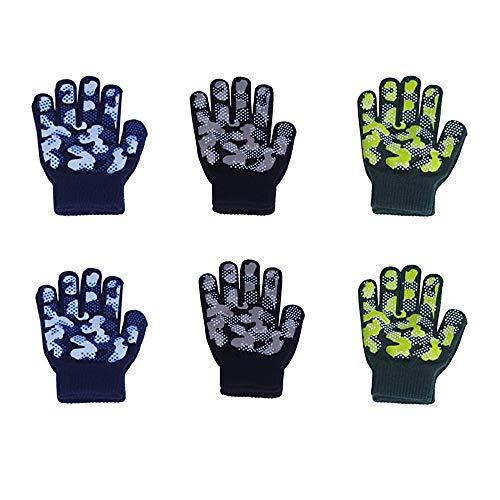 Childrens Magic Gloves (EvridWear Boys Girls Magic Stretch Gripper Gloves 3 Pair Pack Assortment, Kids One Size Winter Warm Gloves Children (2Pack Camo))
