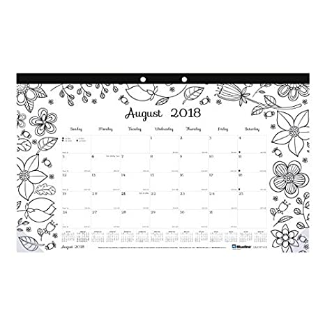 Blueline 2018-2019 DoodlePlan Academic Coloring Desk Pad Calendar, Garden Designs, August 2018 to July 2019, 17.75 x 10.875 inches (CA2917003-19) REDIFORM OFFICE PRODUCTS