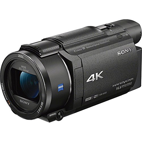51JrC%2B6wVJL - Sony FDR-AX53/B 4K Handycam Camcorder Deluxe Bundle includes Handycam, 55mm Filter Kit, Battery x 2, Charger, 64GB SDXC Memory Card x 2, Bag, Tripod, Card Reader/Wallet, Beach Camera Cloth and More!
