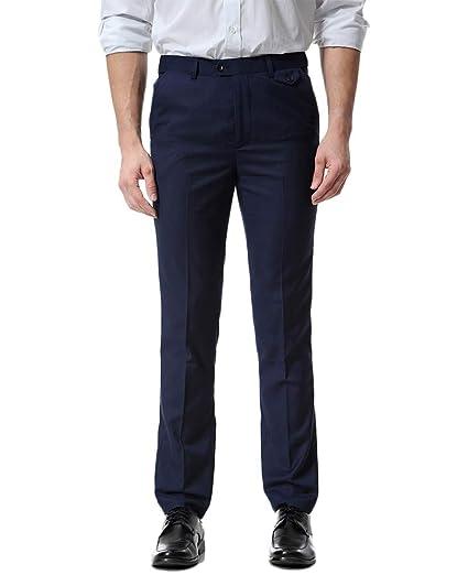 Pantalón De Traje para Hombre Formales Slim Fit Ajustado Pantalóns ...
