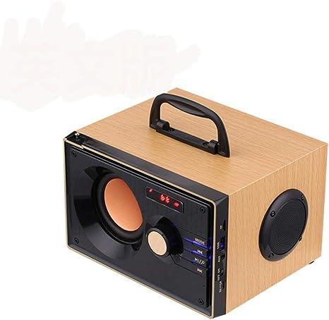Estéreo Subwoofer de Madera Bluetooth Altavoz Reproductor de música Radio FM Caja de Sonido portátil Soporte Tarjeta TF Disco USB: Amazon.es: Deportes y aire libre