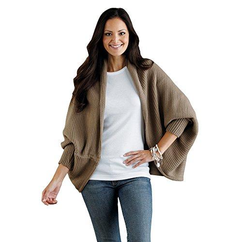 Women's Mezzo Sweater Shrug - Soft Ribbed Knit Top - Khaki ()