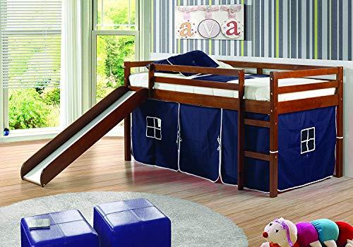 Donco Kids Twin Tent Loft with Slide and Slat-Kits Light Espresso, Blue Tent