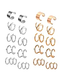 D.Bella 5-10 Pairs Stainless Steel Ear Cuff Helix Cartilage Clip On Wrap Earrings Fake Nose Ring Non-Piercing Adjustable