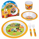Daniel Tiger 5 Pc Mealtime Feeding Set for Kids and Toddlers - Includes Plate, Bowl, Cup, Fork and Spoon Utensil Flatware - Durable, Dishwasher Safe, BPA Free (Yellow)
