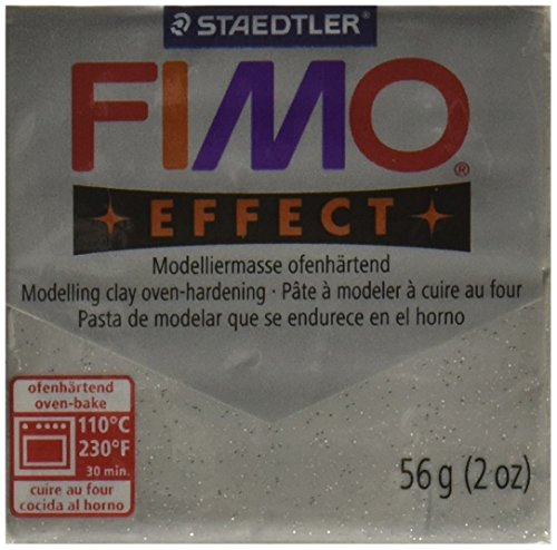 STAEDTLER Fimo Soft Polymer Clay 2 Ounces-8020-812 Glitter Silver ()
