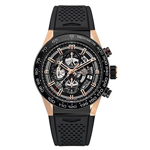 Mens Rose Gold Tag heuer Carrera Calibre Heuer 01 Automatic Chronograph 45 MM CAR2A5A.FT6044
