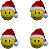 Happy Smiley Face Christmas Santa Claus Hat Car Truck SUV Antenna Topper - 4PK