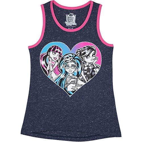 Monster High Girls' Monster Heart Tank, Navy (4-5) (Clothing For Girls Monster High)