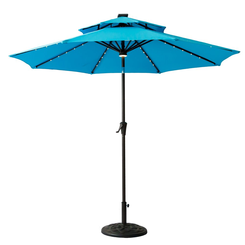FLAME&SHADE 9' LED DoubleTop Outdoor Patio Market Umbrella with Lights, Crank Lift, Push Button Tilt, Aqua Blue