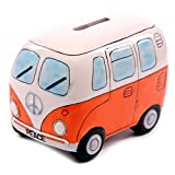 camper bank - D-Sun 1Piece Fancy Camper Money Box Ceramic Camper Van Coin Piggy Bank Gifts for Kid Money Saving Box Bus Car Moneybox Orange