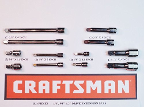 "Craftsman 12 Piece 1/4"", 3/8"" and 1/2"" Drive Extension Bar Set"