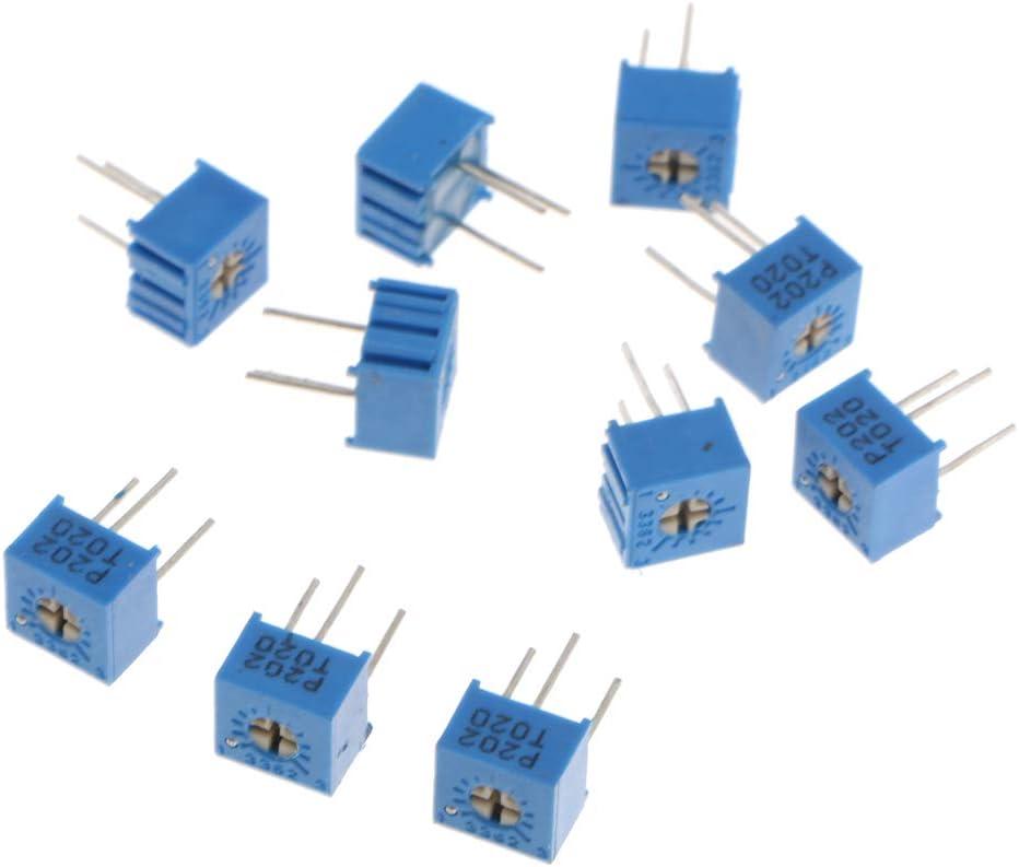 103 Potenziometro Con Pot Pot Trimmer Blu 100K 104 10 Pezzi Di Alta Qualit/à 10K Ohm 3362P 3362P