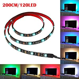 Ehonestbuy TV Backlight Kit USB Multi-color led Strip Lights - RGB Background Ambient Accent lighting Waterproof Strip Lights for TV, PC, Home Theater and Aquarium with RF Remote Control (2M)