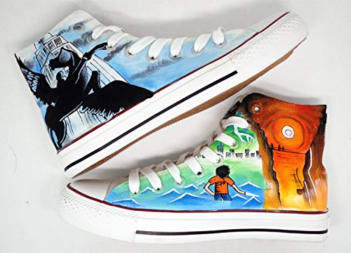 Percy Jackson Shoes The Battle of the Labyrinth and the Olympians Shoes The Lightning Thief Painted Custom Shoes The Sea of Monsters (US 8/EUR 41/255MM)