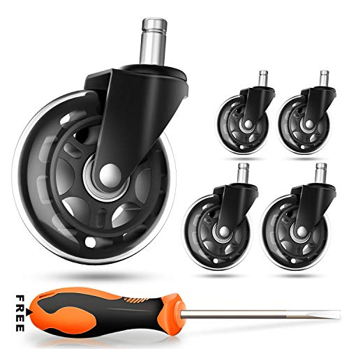 Office Chair Caster Wheels (Set of 5) - Safe for All Floors Including Hardwood- Rollerblade Style w/Universal Fit-Free Screwdriver - 650 lbs Total Capacity by COOWOO (Image #6)