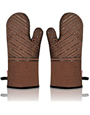 HONZUEN Non-Slip Silicone Oven Mitts with Flexibility of Cotton, Thicken Kitchen Oven Gloves High Heat Resistant 482℉, Extra Long Baking Gloves for Barbecue Cooking Grilling Microwave (1 Pair)
