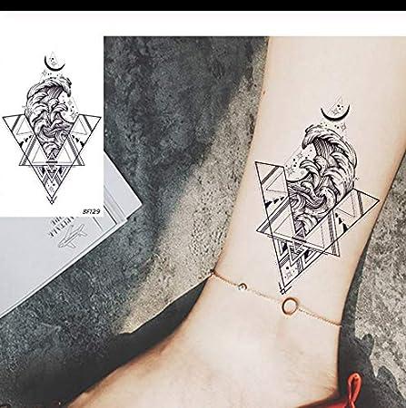 LFVGUIOP Triángulo Mar Ola Luna Tatuajes temporales para niña ...